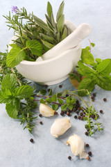 Mortar and pestle, with fresh herbs