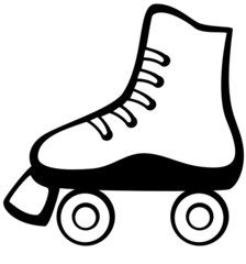 black and white roller skate