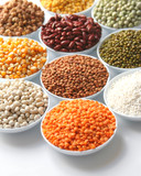 Display of food grains in white bowls poster