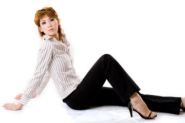 asian business woman relaxing on the floor