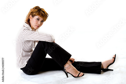 asian business woman sitting on the floor