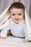The little boy of 7 months looks out from under coverlets poster