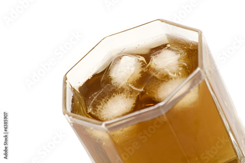 alcohol and ice in glass