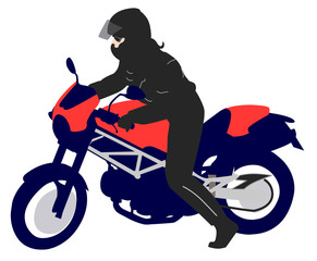 female motorcyclist   illustration