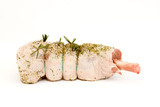Uncooked leg of lamb joint with rosemary and garlic crust poster