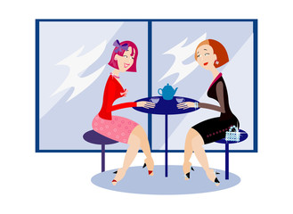 vector image of two girls at the cafe