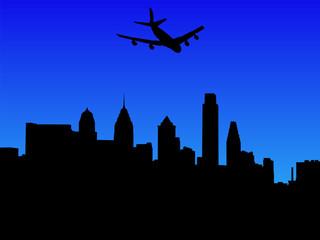 plane flying over Philadelphia