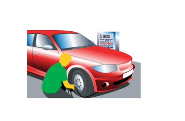 Man inflating tyre illustration