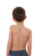child's back isolated on white