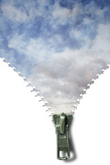Concept image of a zipper and cloudscape