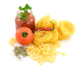 pasta and vegetables studio isolated