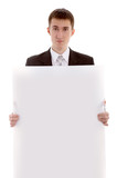 business man with list of  paper isolated in white background poster