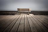 banc promenade bois mer solitude réflexion côte plage poster