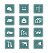 vector icon set for construction tools, transportation...