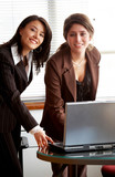 female business partners on an office computer  poster