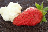 Fresh ripe strawberry with small chocolate sprinkles  poster