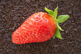 Fresh ripe strawberry on a bed of small chocolate sprinkles  poster