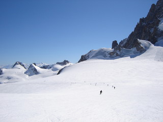Skiers on the Vallee Blanche glacier trail, Chamonix