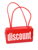 red leather handbag with discount sign,  poster