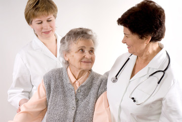 Healthcare workers and senior