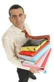 Homme au bureau avec dossier poster