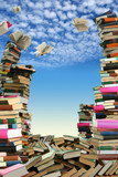This is books scramble. Many books to scatter under sky. poster