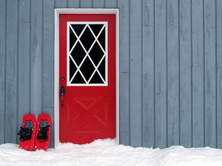 Snowshoes at the door
