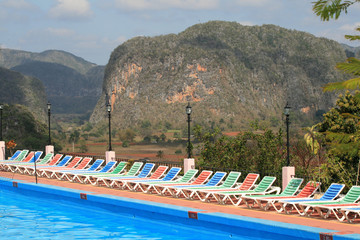 View of Vinales Valley in Cuba from Los jasmines Pool
