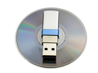 Usb flash memory on MD, close-up, isolated on white backround