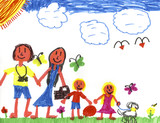 Happy Family in Happyland!  Kid Art by a genuine Kid! poster