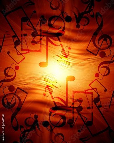Leinwanddruck Bild Glowing sunset with musical notes