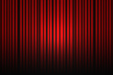 Red theater drapes with spotlight poster