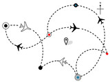 Airline Plane Flight Paths Travel Plans Map poster