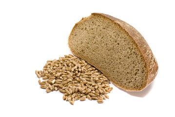 Grain and piece of bread