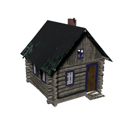 Old wooden house on a white background. 3D image.