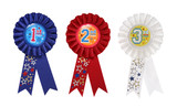 First, Second, and Third place award ribbons  poster