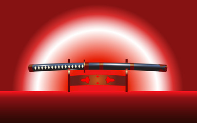vector illustration of the japanese katana sword