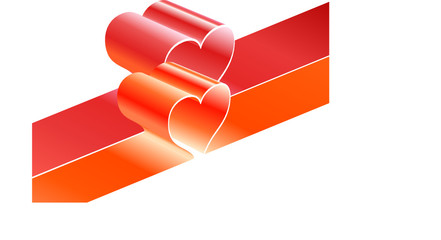 bright red ribbons with heart shapes in vector