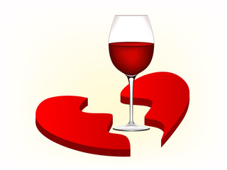 Illustration of broken heart and wine glass