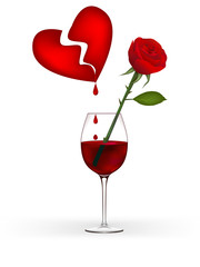 Clip-art of bloody heart, rose and wine