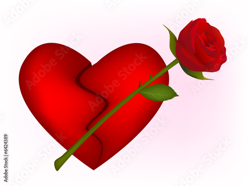 Clip-art of broken heart and red rose