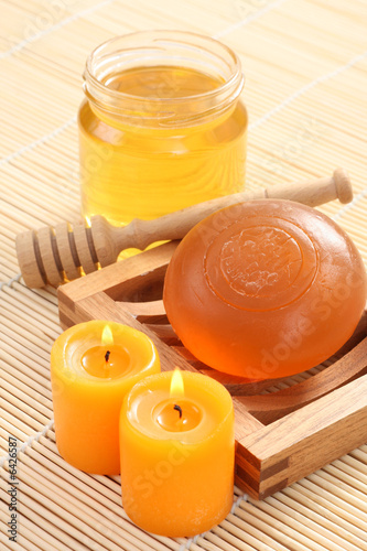 bar of gliceryne soap and jar of honey - natural bath