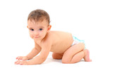 Adorable Baby crawling on white background . poster