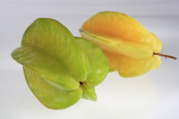 green  and yellow  color  Starfruit  with  sweet  tasty  pulp