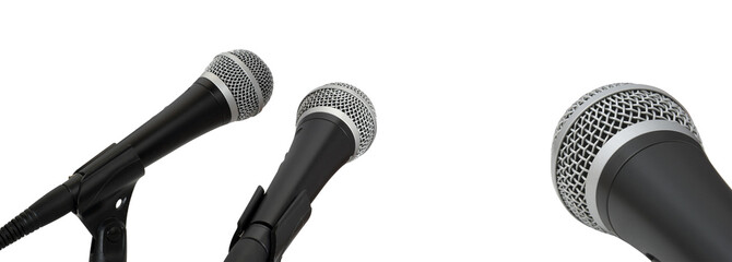 Press conference. Microphones isolated on white background.