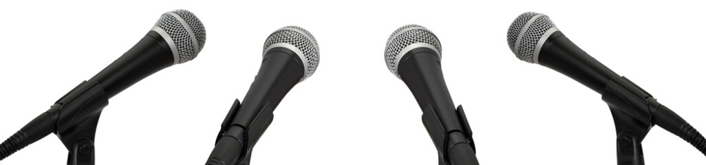 Press conference. Microphones isolated on white background