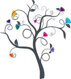 vecteur série - dessin d'arbre à fleurs multicolores vectoriel