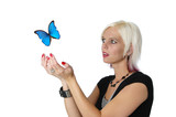 Beautiful blond letting a butterfly go isolated on white poster