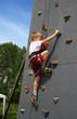 Boy on climbing wall