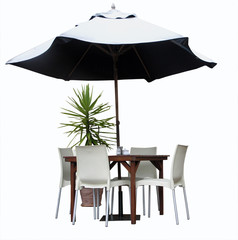 Table, Chairs, Plant and Umbrella, Isolated with clipping path